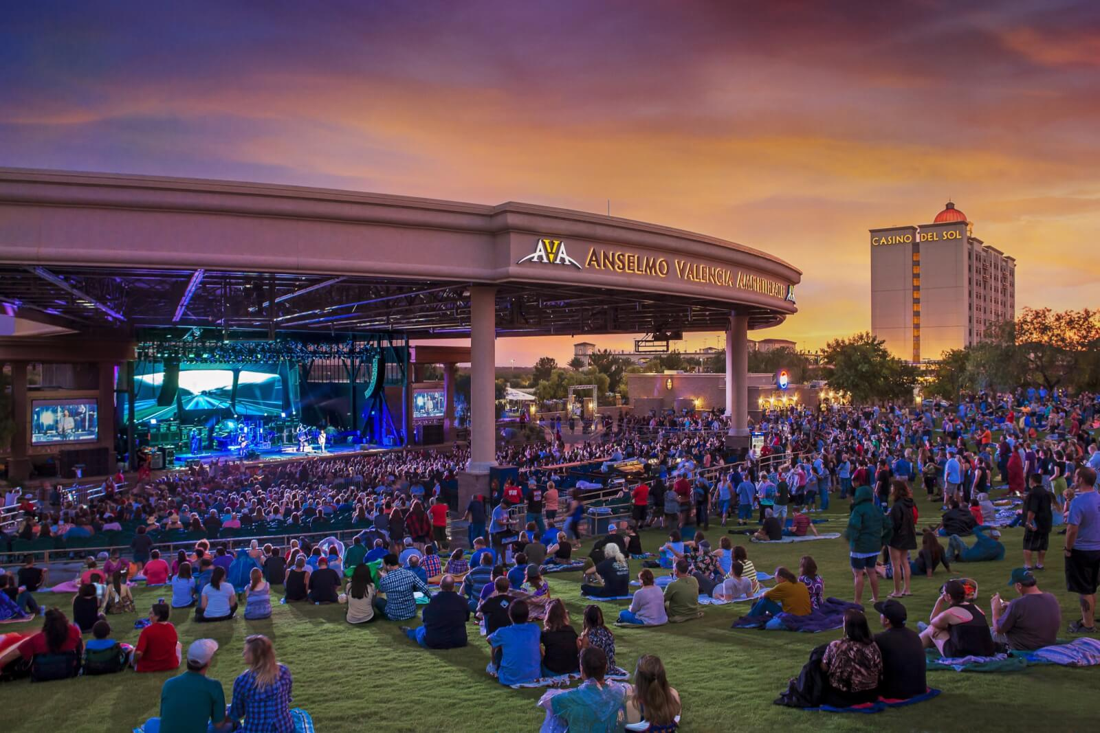 Guests gathered at the Casino Del Sol AVA Amphitheater to watch a show.