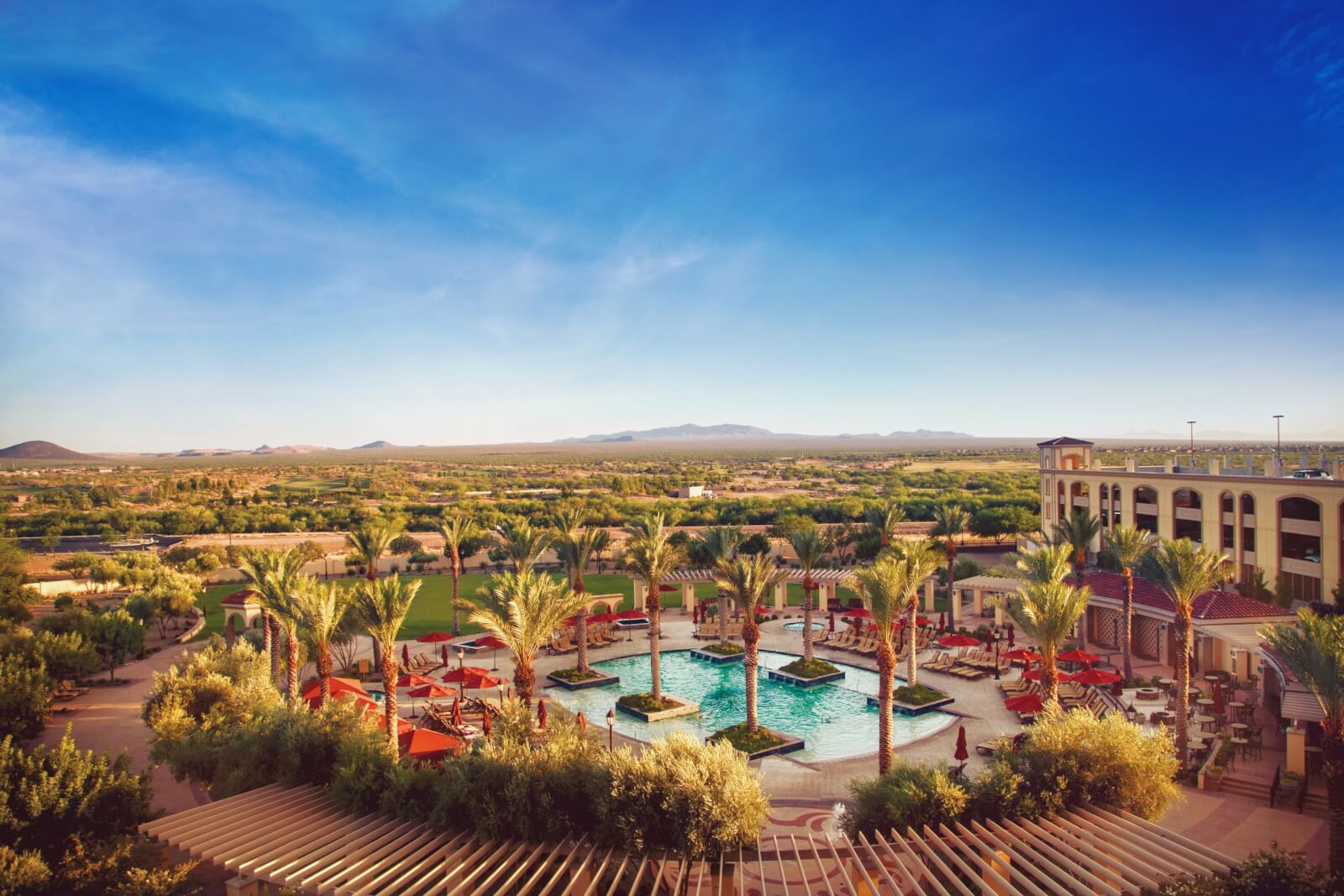 A drone view of the Casino Del Sol pool lined with palm trees and the mountains in the distance.