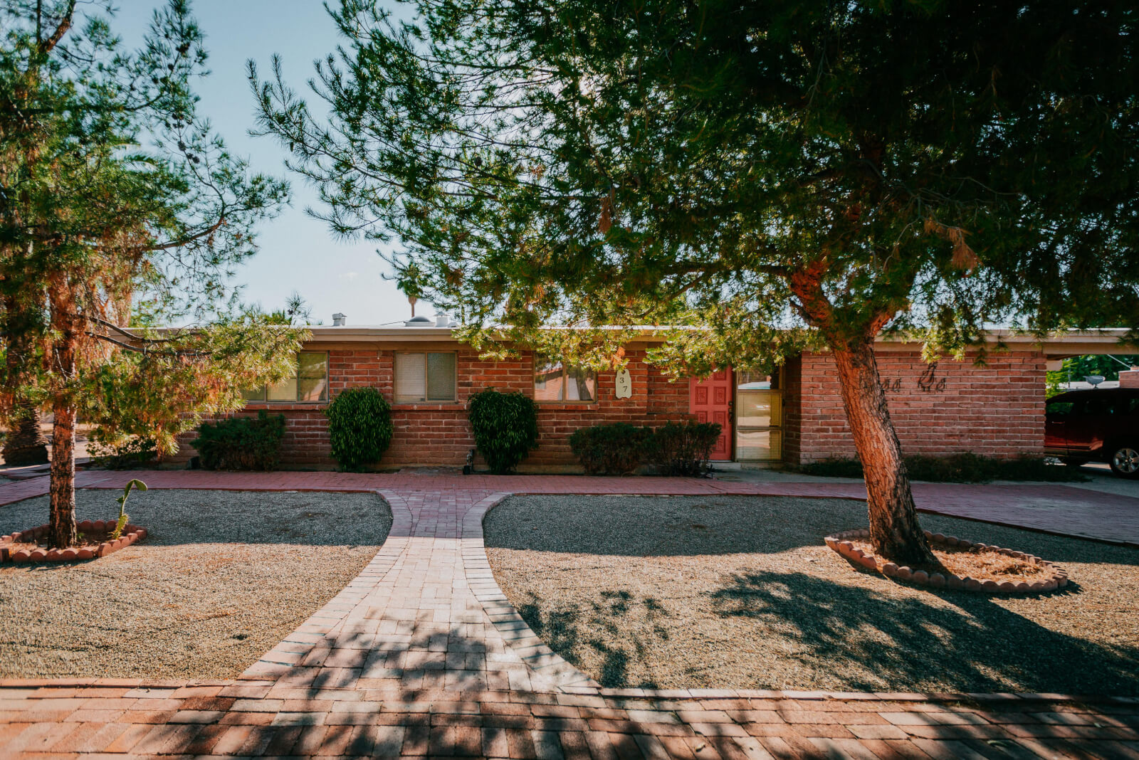A flat-roof, brick home in the San Rafael Estates neighborhood of Tucson, Arizona