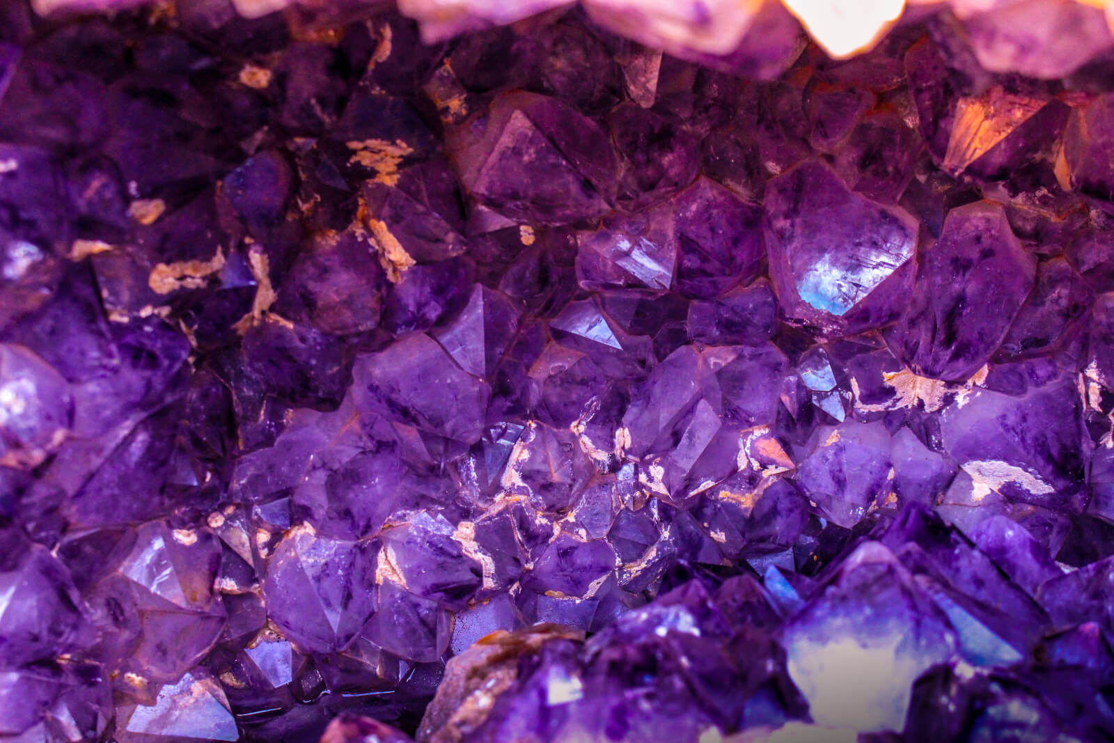 Bright purple amethyst gemstone