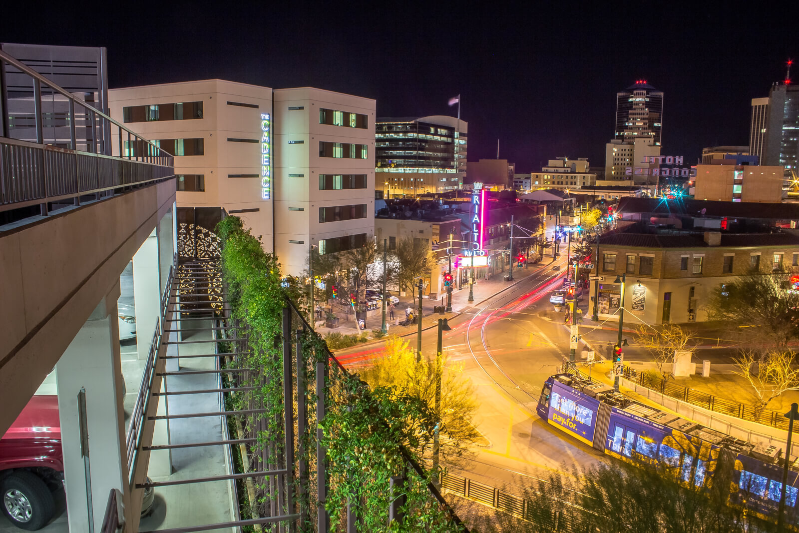 Downtown Tucson with colorful lights taken at night.
