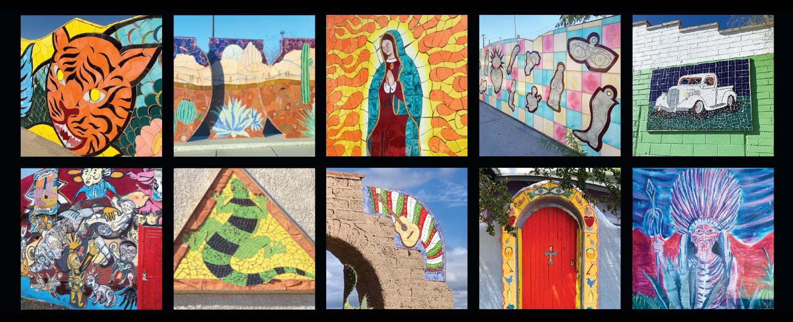 A colorful collection of mosaics and murals found around South Tucson, Arizona.